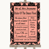 Coral Damask Rules Of The Dancefloor Customised Wedding Sign