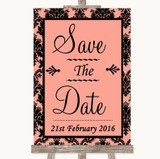 Coral Damask Save The Date Customised Wedding Sign