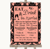 Coral Damask Signature Favourite Drinks Customised Wedding Sign