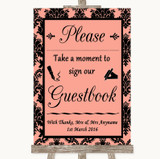 Coral Damask Take A Moment To Sign Our Guest Book Customised Wedding Sign
