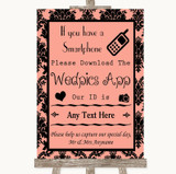 Coral Damask Wedpics App Photos Customised Wedding Sign