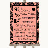 Coral Damask Welcome Order Of The Day Customised Wedding Sign