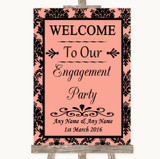 Coral Damask Welcome To Our Engagement Party Customised Wedding Sign