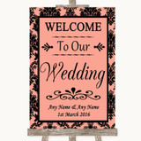 Coral Damask Welcome To Our Wedding Customised Wedding Sign