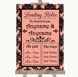 Coral Damask Who's Who Leading Roles Customised Wedding Sign