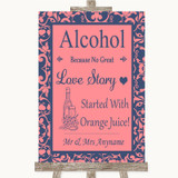 Coral Pink & Blue Alcohol Bar Love Story Customised Wedding Sign