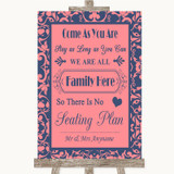 Coral Pink & Blue All Family No Seating Plan Customised Wedding Sign