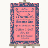 Coral Pink & Blue As Families Become One Seating Plan Customised Wedding Sign