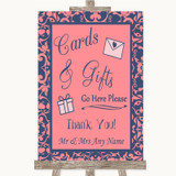 Coral Pink & Blue Cards & Gifts Table Customised Wedding Sign