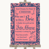 Coral Pink & Blue Cheese Board Song Customised Wedding Sign