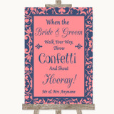 Coral Pink & Blue Confetti Customised Wedding Sign