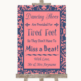 Coral Pink & Blue Dancing Shoes Flip-Flop Tired Feet Customised Wedding Sign