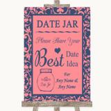 Coral Pink & Blue Date Jar Guestbook Customised Wedding Sign
