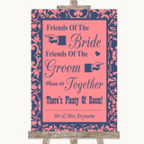 Coral Pink & Blue Friends Of The Bride Groom Seating Customised Wedding Sign