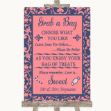 Coral Pink & Blue Grab A Bag Candy Buffet Cart Sweets Customised Wedding Sign