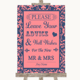 Coral Pink & Blue Guestbook Advice & Wishes Mr & Mrs Customised Wedding Sign