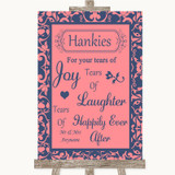 Coral Pink & Blue Hankies And Tissues Customised Wedding Sign