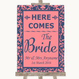 Coral Pink & Blue Here Comes Bride Aisle Sign Customised Wedding Sign