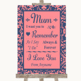 Coral Pink & Blue I Love You Message For Mum Customised Wedding Sign