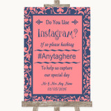 Coral Pink & Blue Instagram Photo Sharing Customised Wedding Sign