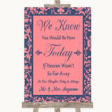 Coral Pink & Blue Loved Ones In Heaven Customised Wedding Sign