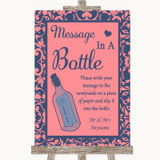 Coral Pink & Blue Message In A Bottle Customised Wedding Sign