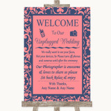 Coral Pink & Blue No Phone Camera Unplugged Customised Wedding Sign