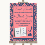 Coral Pink & Blue Photo Guestbook Friends & Family Customised Wedding Sign