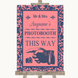 Coral Pink & Blue Photobooth This Way Left Customised Wedding Sign