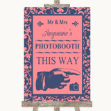Coral Pink & Blue Photobooth This Way Right Customised Wedding Sign