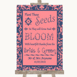 Coral Pink & Blue Plant Seeds Favours Customised Wedding Sign
