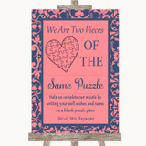 Coral Pink & Blue Puzzle Piece Guest Book Customised Wedding Sign