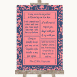 Coral Pink & Blue Romantic Vows Customised Wedding Sign