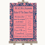Coral Pink & Blue Rules Of The Dancefloor Customised Wedding Sign