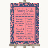 Coral Pink & Blue Rules Of The Wedding Customised Wedding Sign