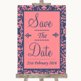 Coral Pink & Blue Save The Date Customised Wedding Sign