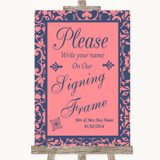 Coral Pink & Blue Signing Frame Guestbook Customised Wedding Sign