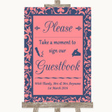 Coral Pink & Blue Take A Moment To Sign Our Guest Book Customised Wedding Sign