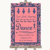 Coral Pink & Blue Toiletries Comfort Basket Customised Wedding Sign