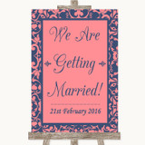 Coral Pink & Blue We Are Getting Married Customised Wedding Sign
