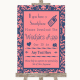 Coral Pink & Blue Wedpics App Photos Customised Wedding Sign