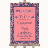 Coral Pink & Blue Welcome To Our Engagement Party Customised Wedding Sign