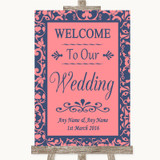 Coral Pink & Blue Welcome To Our Wedding Customised Wedding Sign