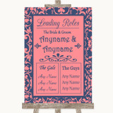 Coral Pink & Blue Who's Who Leading Roles Customised Wedding Sign
