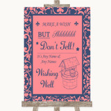 Coral Pink & Blue Wishing Well Message Customised Wedding Sign