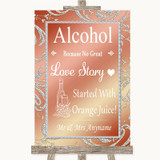 Coral Pink Alcohol Bar Love Story Customised Wedding Sign