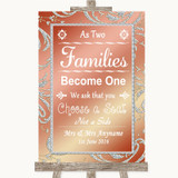 Coral Pink As Families Become One Seating Plan Customised Wedding Sign