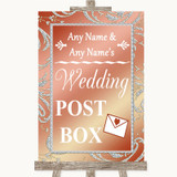 Coral Pink Card Post Box Customised Wedding Sign