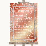 Coral Pink Cheese Board Song Customised Wedding Sign