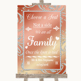Coral Pink Choose A Seat We Are All Family Customised Wedding Sign